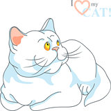 vector cute white cat lying