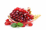 red juicy ripe organic pomegranate