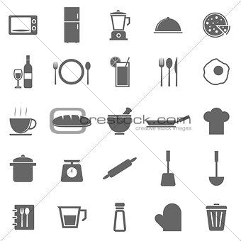 Kitchen icons on white background