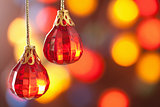 red Christmas decoration over blurred background