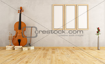 Old room with double bass