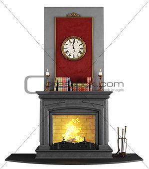 Classic stone fireplace