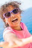 Mixed Race African American Girl Child Sunshine Sunglasses