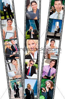 Filmstrip Successful City Business Men & Women