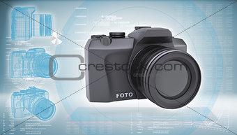 SLR camera on a hi-tech blue background