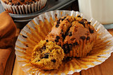 Fresh chocolate chip pumpkin muffin