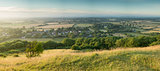 View across English countryside landscape during late Summer eve