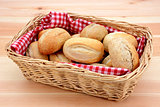 Basket full of fresh bread rolls