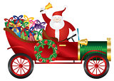 Santa Claus on Vintage Car Delivering Presents Illustration
