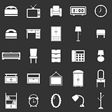 Bedroom icons on black background