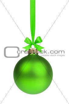 single simple green christmas ball hanging on ribbon