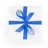 white textured gift box with blue ribbon percent symbol