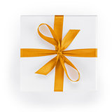 white textured gift box with orange ribbon percent symbol
