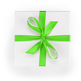 white textured gift box with green ribbon percent symbol