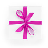 white textured gift box with purple ribbon percent symbol