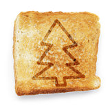 toasted slice of white bread with christmas tree