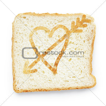 slice of bread with heart and arrow