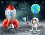 Cartoon astronaut and vintage space rocket on the moon