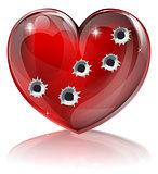 Bullet hole heart concept