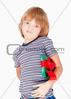 Boy Holding a Present