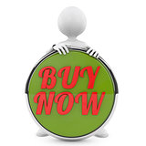 man holding buy now button
