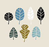 Retro Autumn leaves isolated on beige background