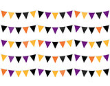 Halloween colorful Bunting or Flags isolated on white