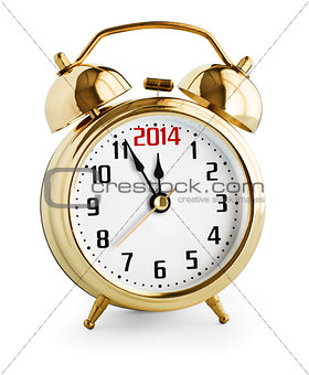 Alarm clock showing 2014 new year