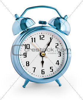 Alarm clock showing six hours with clipping path with no shadows