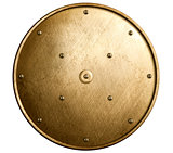 round bronze shield isolated