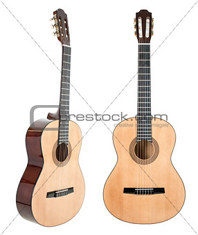 Six-string guitar isolated on white with clipping path