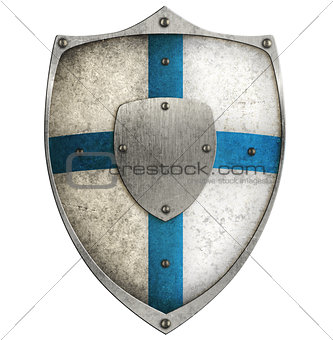aged metal shield with blue cross isolated on white