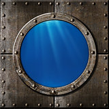 rusty metal porthole underwater