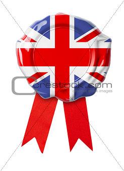 British or UK flag seal with ribbon