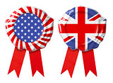 British UK and USA guarantee seals with ribbons set