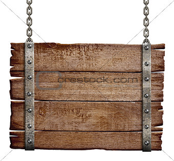 old wood signboard hanging on chain