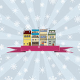 Winter holidays card with houses 2