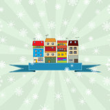 Winter holidays card with houses 3
