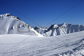 Ski slope at nice winter day