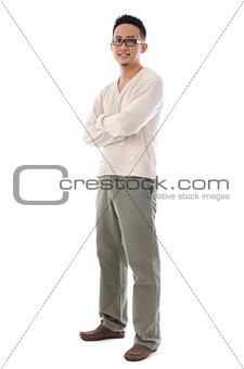 Full body Asian man in casual wear
