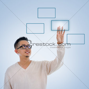 Asian man finger pressing on touch screen monitor button