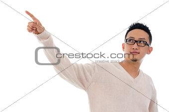 Asian man finger touching on transparent virtual screen