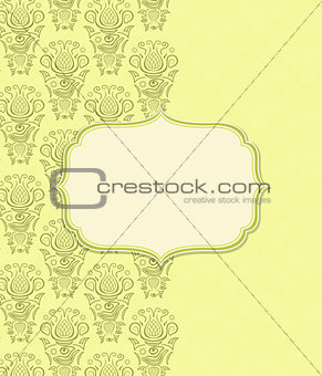 Green Yellow Invitation Card with Vignette Label