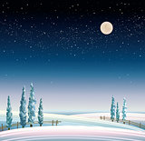 Winter starry landscape