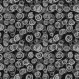 Vector spirals on black background - seamless pattern