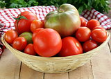 basket with different types of tomatoes