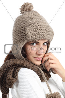 Facial woman portrait warmly clothed in winter
