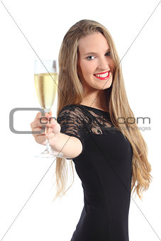 Portrait of a beautiful woman toasting with champagne