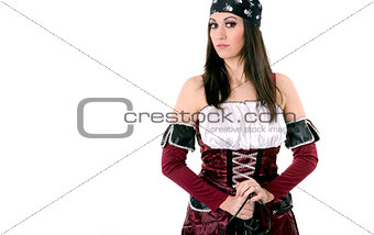 Beautiful Pirate Captain Poses Breast Out With Long Sword Weapon