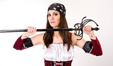Female Pirate Hold Large Sword Blade Sheath